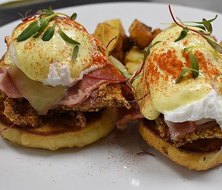 Friday Brunch Till 4pm : Chicken Cordon Blue Benny ~ Fried Chicken | @gastros401 Cured Ham | House Made English | Swiss Cheese | Paprika Hollandaise | @littlerhodyfoods Poached Eggs | @sproutorganicfarms Micros • • • • #foodnetwork #foodtrip #foodart #foo | by rogueisland