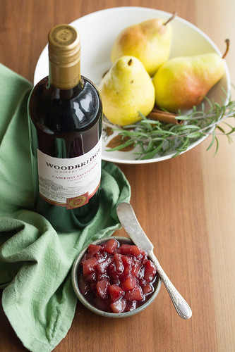 Bottle of Woodbridge Wine and Dish of Pear Compote | by Isabelle @ Crumb