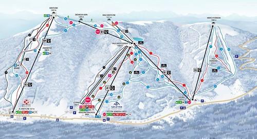 Szczyrk - mapa sjezdovek