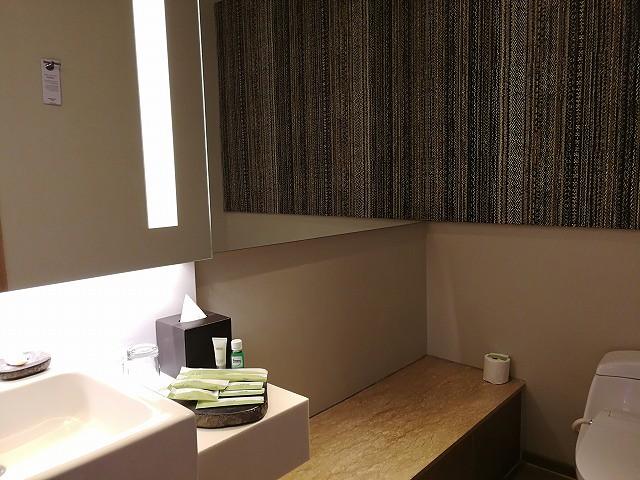 <p>洗面台横の棚:question:ベンチ?が、けっこう便利に使えました</p>