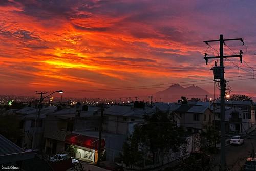 dawn sunrise amanecer mexico monterrey montaña mountain color colors colores cielo clouds nubes