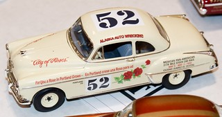 """Hershel McGriff's 1950 Oldsmobile Rocket 88 engine Coupe. Kit includes 1950 Mexican road race """"City of Roses"""" decal and 1950 Darlington markings.  DSC_0607"""