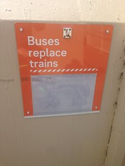 'Buses replace trains' sign at Greensborough Station