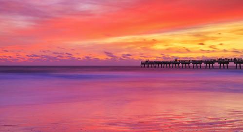 florida jacksonvillebeach sunrise jaxbeach jacksonvillebeachpier ocean coast fishingpier clouds sky longexposure