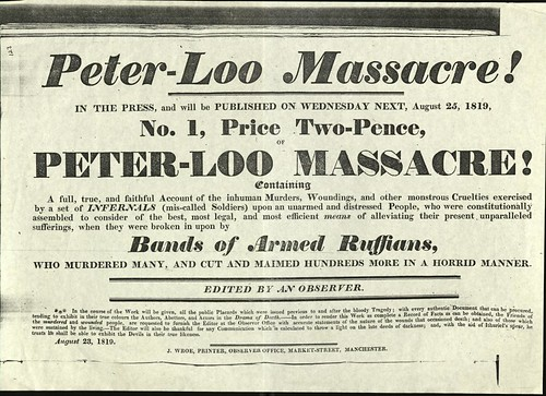 Advertisement for an account of the Peterloo Massacre.