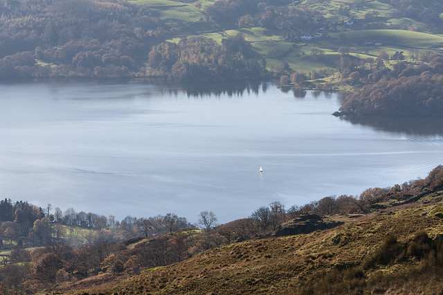 Yacht on Windermere, seen from Wansfell Pike, above Ambleside, Lake District National Park, Cumbria, UK