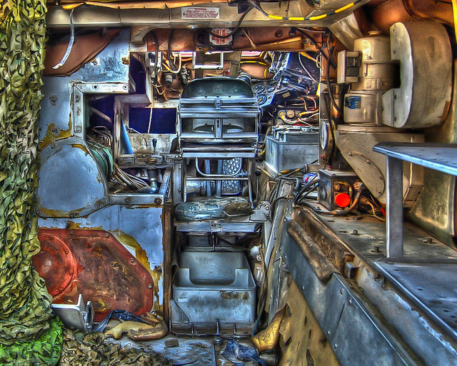 Inside an old armoured vehicle