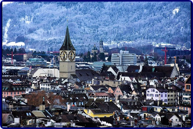 Panorama of Zurich in winter