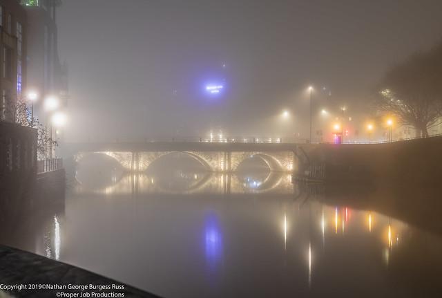 Bristol Bridge at night in the fog
