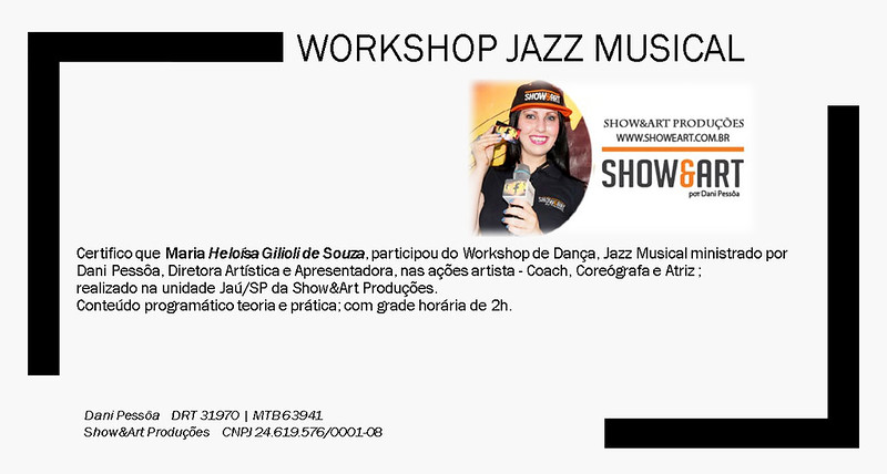 Certificado Workshop Jazz Musical _ Heloísa