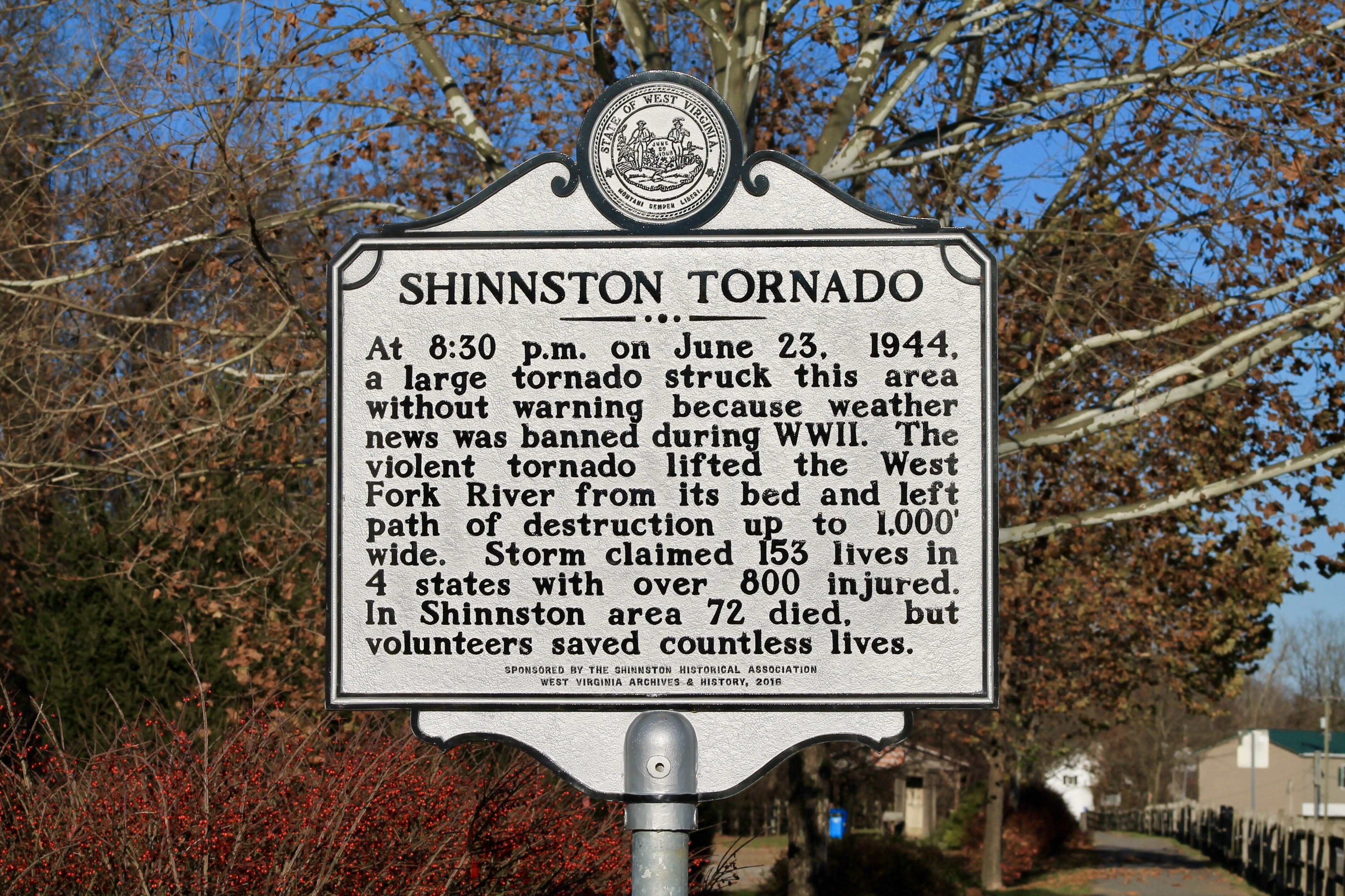 Shinnston Tornado historical marker - Shinnston, WV