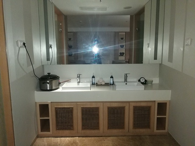 <p>広い洗面台。鏡に向かって右側にトイレ。左側にはシャワーブースがあります。</p>
