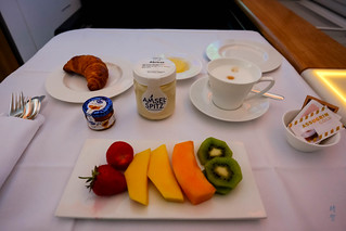 Fruit plate, yogurt and croissant | by A. Wee