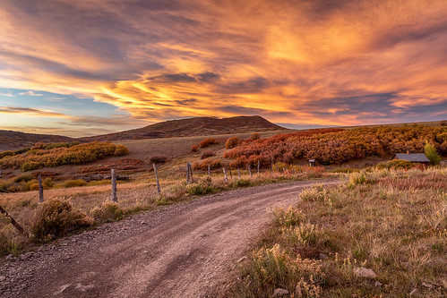 colorado lastdollarroad sanjuanmountains sanmiguelcounty usa unitedstates cabin fence landscape outdoor road sunset