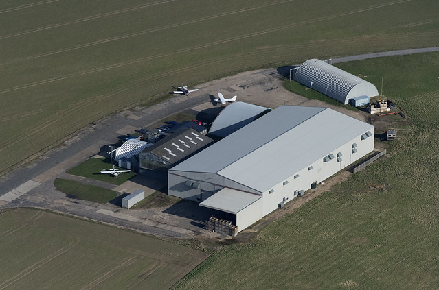 The Light Aircraft Company buildings on Little Snoring airfield in Norfolk - aerial