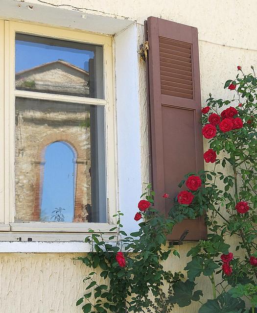 Window and roses: Pontevès, Var, Provence