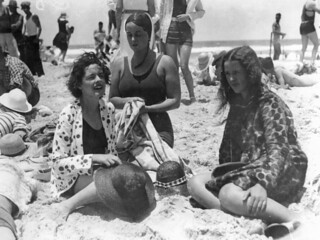 Women on the beach, Southport, 1932