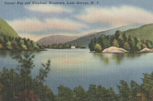 lakegeorge souvenir vintage postcard newyork lake water boat