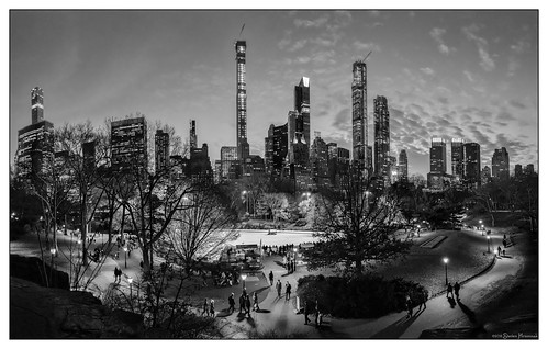 newyorkcity blue hour bw tree people nyc centralpark central park iceskatingrink ice skating rink bluehour pano trump zamboni sunset 432parkavenue 111west57thstreet