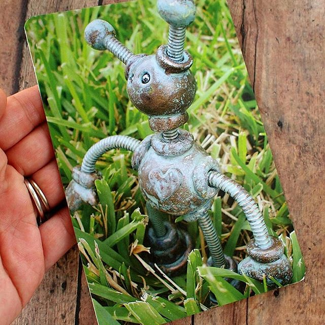 Rainy weekend is on the way, no outside, which made me think of my first Patina Garden Bot, long adopted but now available in print form