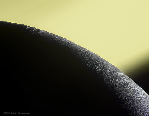 Enceladus in front of Saturn | by Lights In The Dark