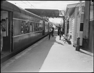 Safety first photos. Youths running to join train. | by NSW State Archives and Records