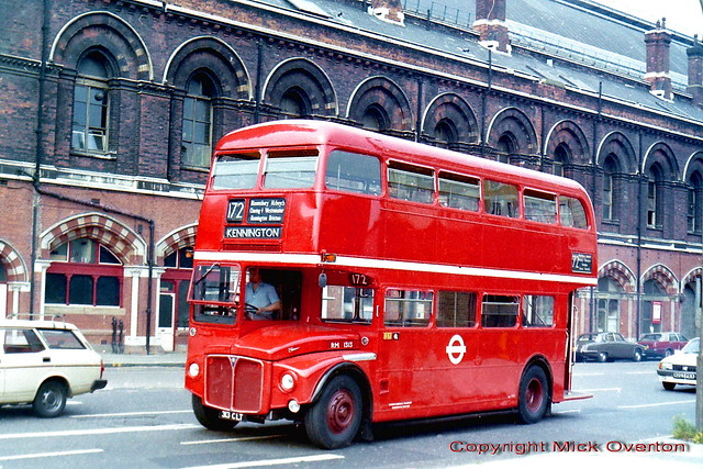 Kings Cross station sees empty AEC Routemaster RM1313 313CLT on route 172 fresh from its final Aldenham overhaul