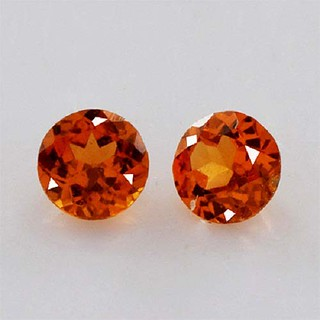 natural hessonite round faceted cut gemstone