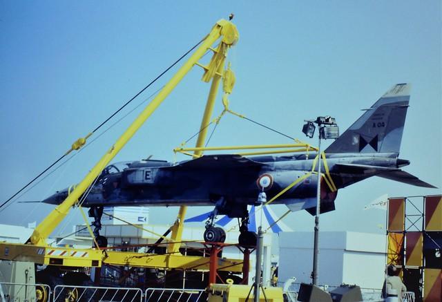 Jaguar-A A-04/E ex Centre d'Essais en Vol (CEV), French Air Force. Displayed at Paris Air-Show, Le Bourget, 1 June 1985.