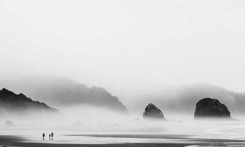cannonbeach oregon portland beach fog coast blackandwhite 135mm pacific pacificnorthwest ocean westcoast