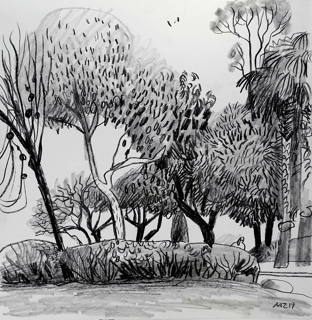 Maria Zaikina, Trees, china marker and graphite on paper, 24×25 cm, 2019, , private collection, Netherlands