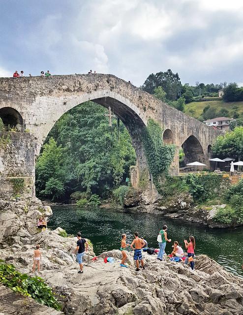 At the Roman bridge in Cangas de Onis, Asturias, Spain