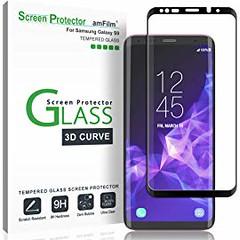 Galaxy S9 Screen Protector Glass amFilm 3D Curved Dot Matrix Full Screen Samsung Galaxy S9 Tempered Glass Screen Protector (5.8) 2018 with Easy Application Tray (NOT S9 Plus) (Case Friendly)