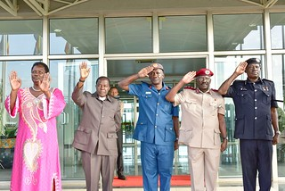 (From L-R) Minister for Presideny Esther Mbayo, Head of Public Service John Mitala, Maj Gen Lutaaya,  Commissioner General of Prisons Byabashaija and AIGP Sorowen seeing off President to Arusha, Tanzania at | by Kabuubi Media Africa