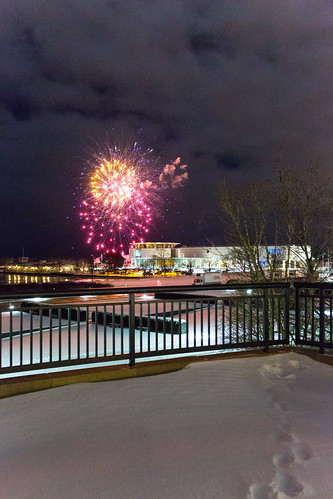 Snow Fireworks Over Harbor House | by VBuckley.com
