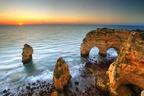 algarve atlantic marinha ocean portugal beach dawn sunrise