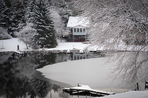 horton michigan unitedstates us snow ice winter white tree lake channel dock rainbowlake nikon d500