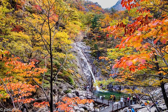 Biryong Pokpo Falls in Seoraksan National Park during autumn