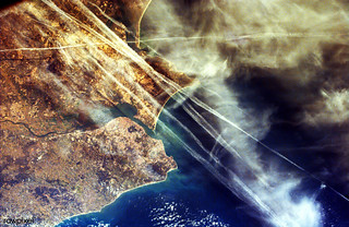 This image from NASA's EarthKAM shows Lisbon, the capital of Portugal. Original from NASA. Digitally enhanced by rawpixel.