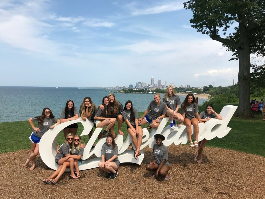 Volleyball team at Cleveland Sign