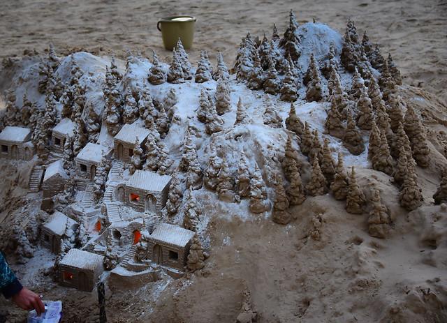 Beach Wintery scene Sand Sculptures - Tel Aviv Israel