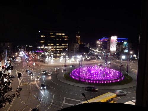 slavija fontana sunset beograd belgrade serbia srbija fountain night square trg skver kruzni tok