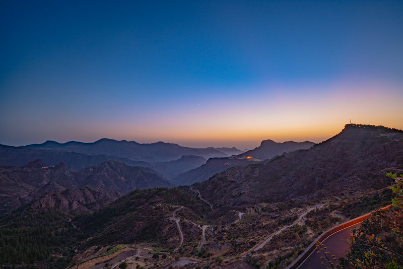 Sunset over the mountains of Gran Canaria