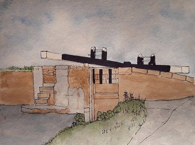 Regent's Canal. Hackney. London. Ink and watercolour on brown paper.