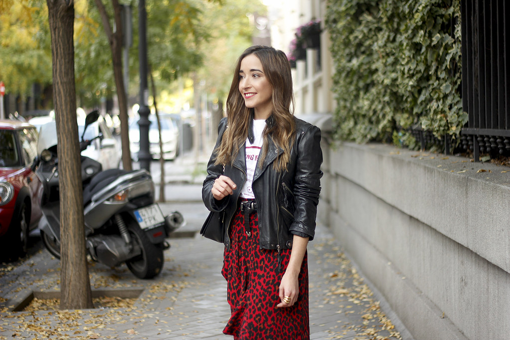 aa7d7e4264c336 ... midi skirt red leopard print trend black biker jacket converse street  style fall outfit 20186290