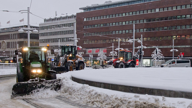 Snow in Stockholm - it is winter in the city. Sergel Square.
