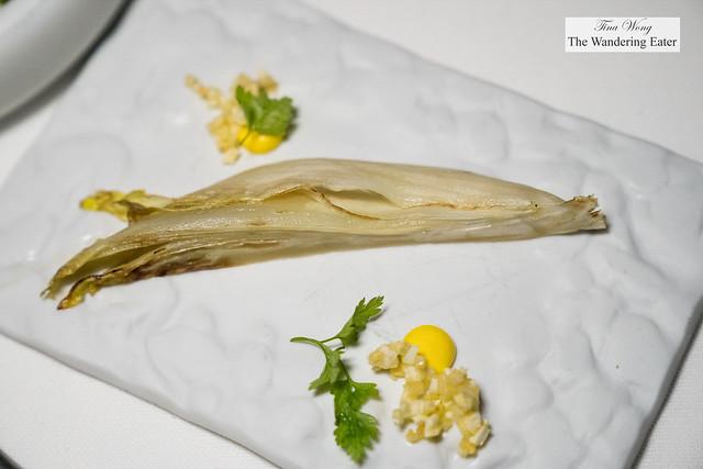 Ichiju-sansai inspired course - glazed endive salad