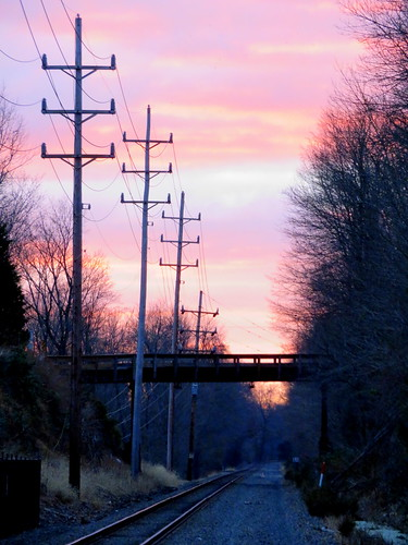 nj sunrise dawn train tracks bridge north branch transit telephone pole