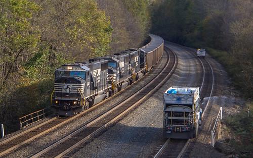 locomotive train railroad norfolk southern coal consist freight sd60i 6742 ns 537 sprayer truck asplundh division cassandra pa pennsylvania