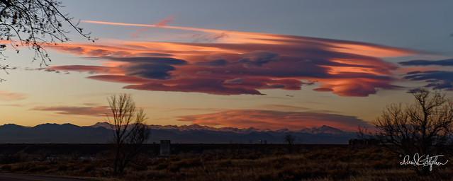 Pink, Twilight Cloud, Looking Towards Long's Peak